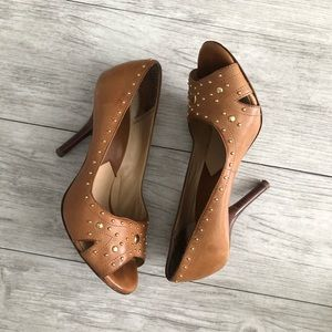 Michael Kors Tan with Gold Studs Leather Peep Toe